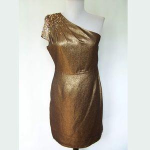 Tahari Bronze One Shoulder Long Formal Dresses